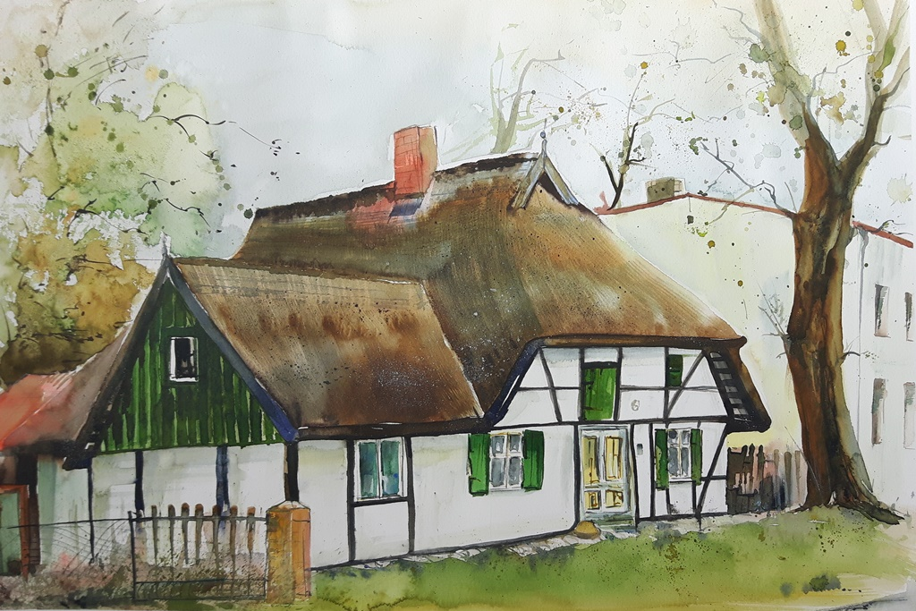Bauernhaus in Aquarell