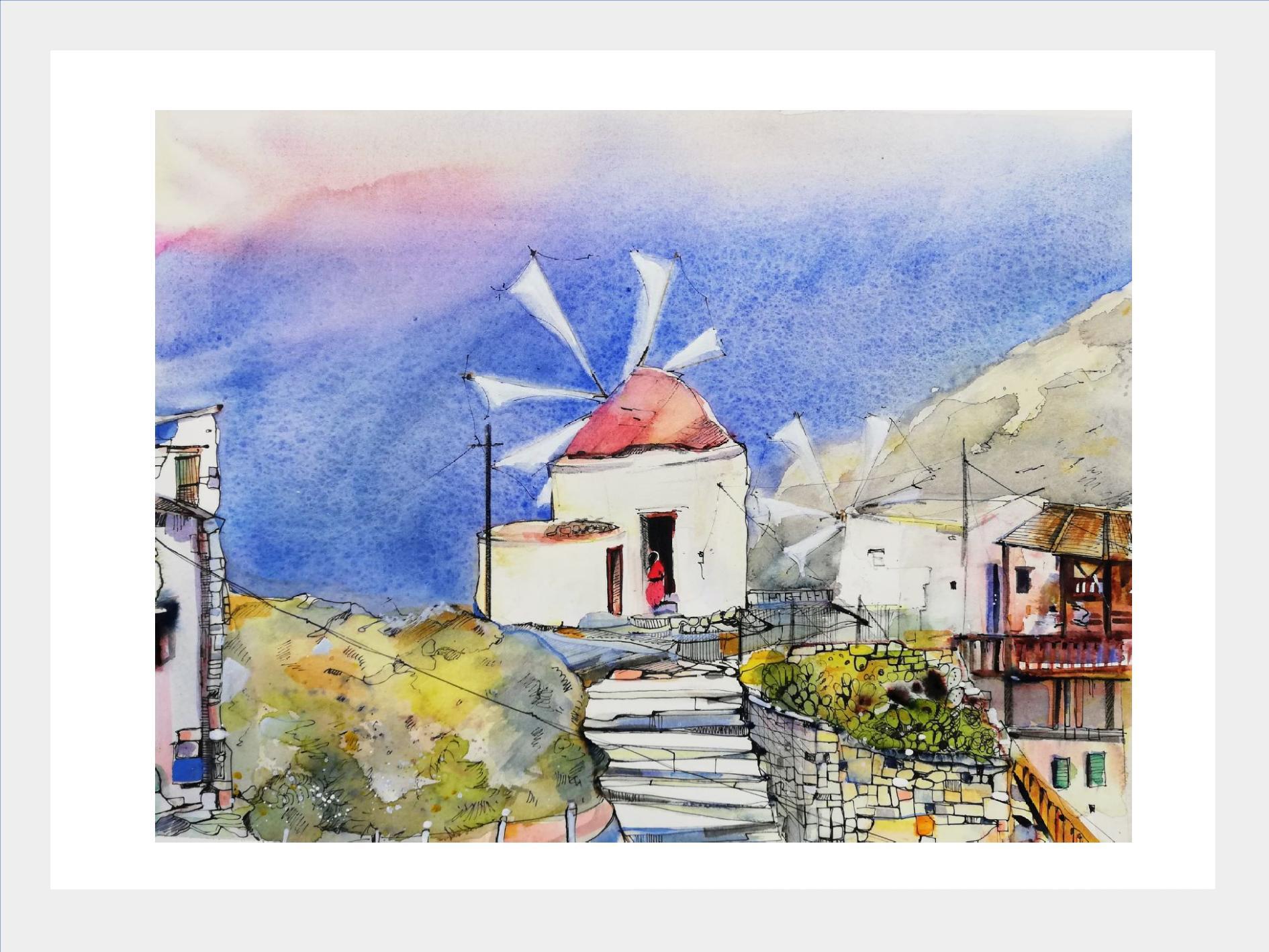 mediteranes Dorf Aquarell