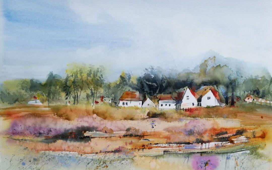 Aquarell Dorf an der Heide