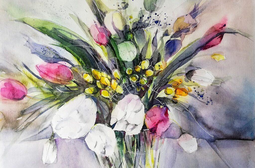 Tulpen und Fresien Blumenbild