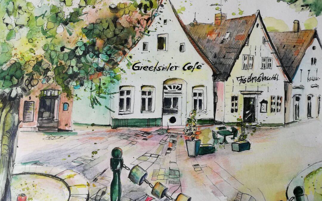 Dorfplatz Greetsiel Zeichnung