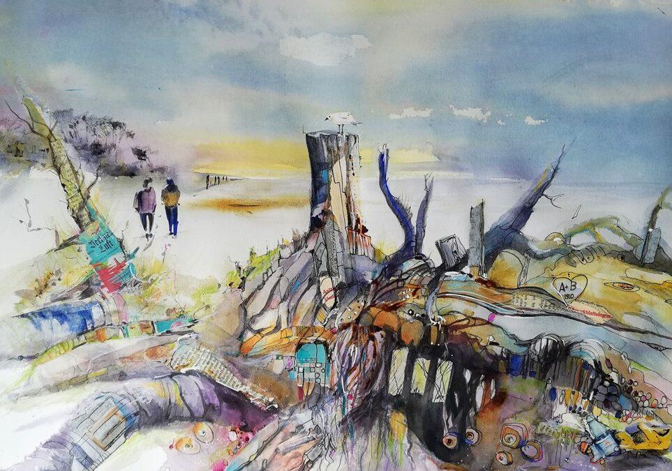Malerisches Aquarell Strandgut