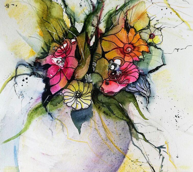 bewegte Blumen Aquarellbild